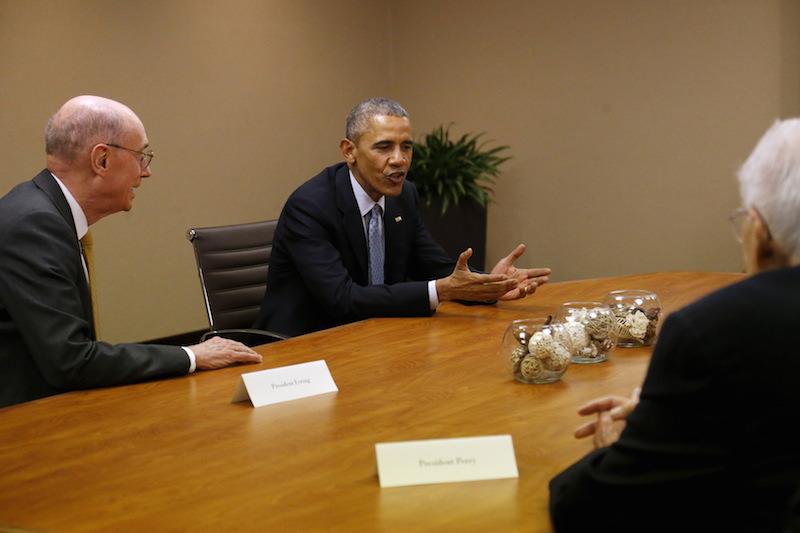 Obama meets with Mormon leaders including Eyring at his hotel in Salt Lake City, Utah